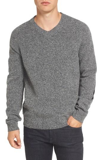 French Connection Elbow Patch Sweater In Charcoal Twist/ Black
