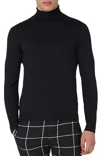 Topman Cotton Turtleneck Sweater In Black