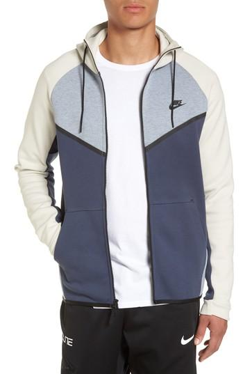 Nike Men's Sportswear Tech Fleece Windrunner Zip Hoodie In Glacier Grey/ Heather/ Bone