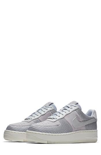 finest selection fa949 1772f Nike Air Force 1 Upstep Premium Platform Sneaker In Metallic Platinum  Sail