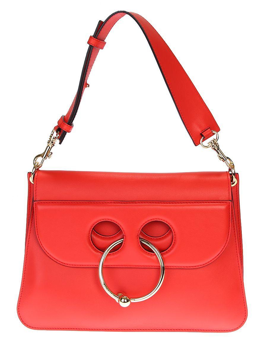 Jw Anderson Medium Pierce Leather Bag In Red