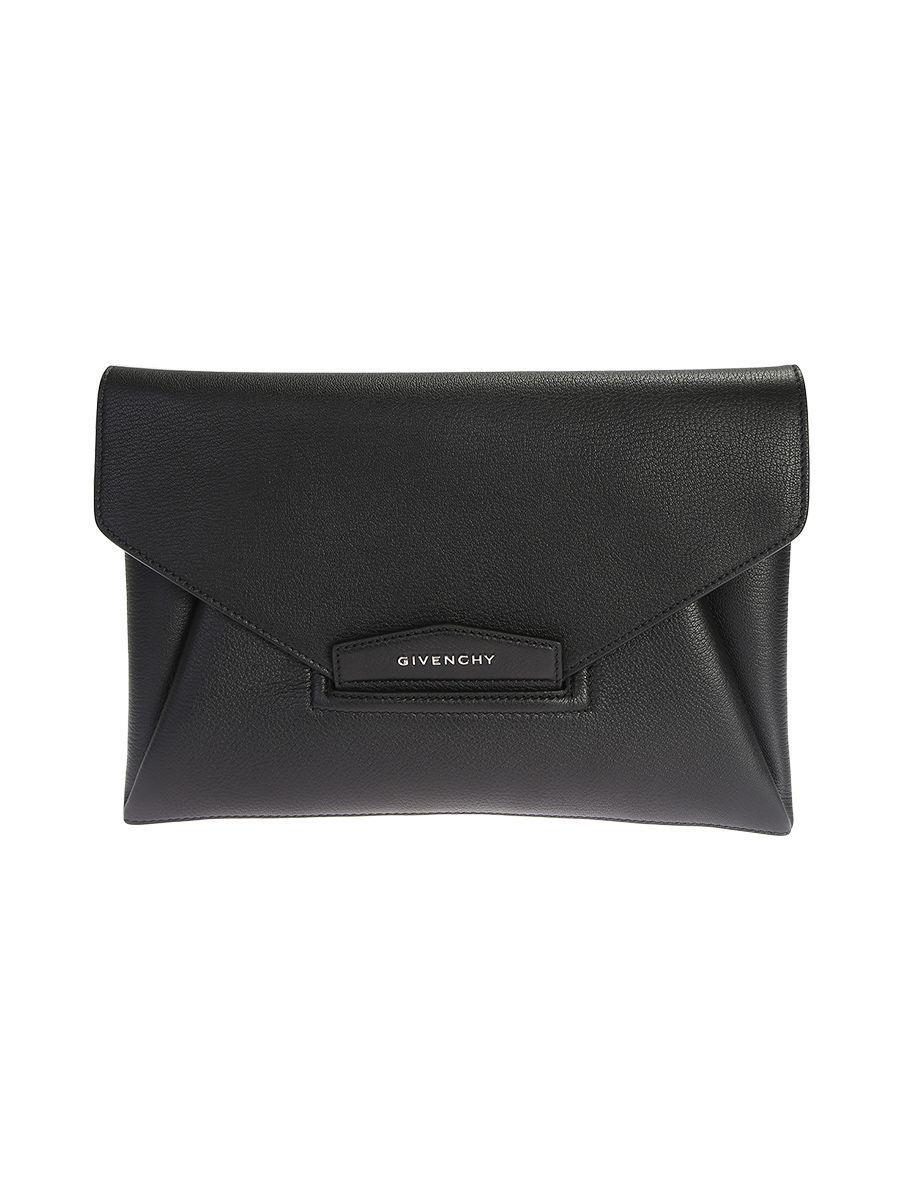 Givenchy Black Leather Antigona Medium Clutch