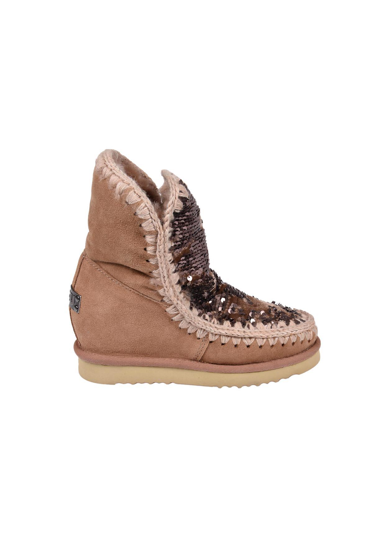 Mou Eskimo Sneaker W-strass In Seqcam Pink Paillettes