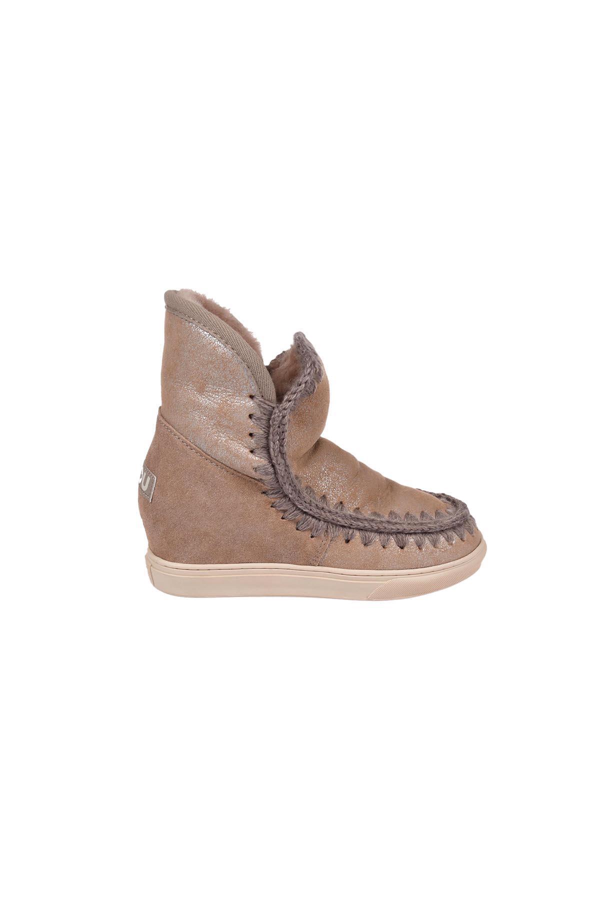 Mou Inner Wedge Sneaker Crystal Shoes In Ducam Pink