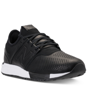 New Balance Men's 247 Leather Casual Sneakers From Finish Line In Black/Black