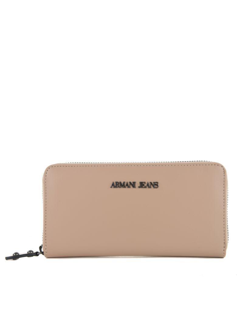 Armani Jeans Logo Plaque Zip Around Wallet In Beige