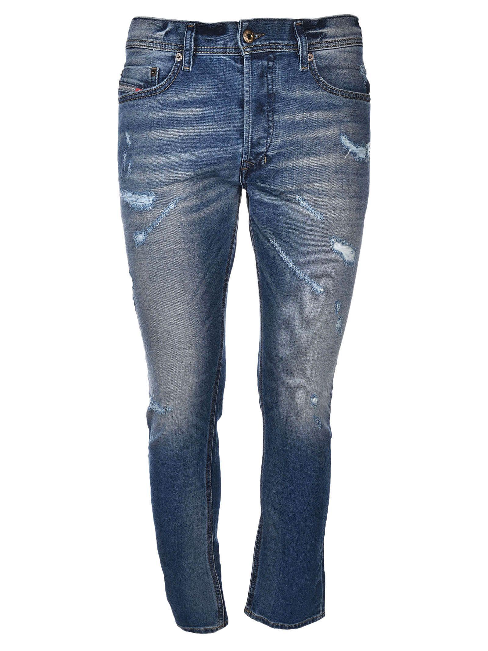 Diesel Semi-distressed Jeans In Blue