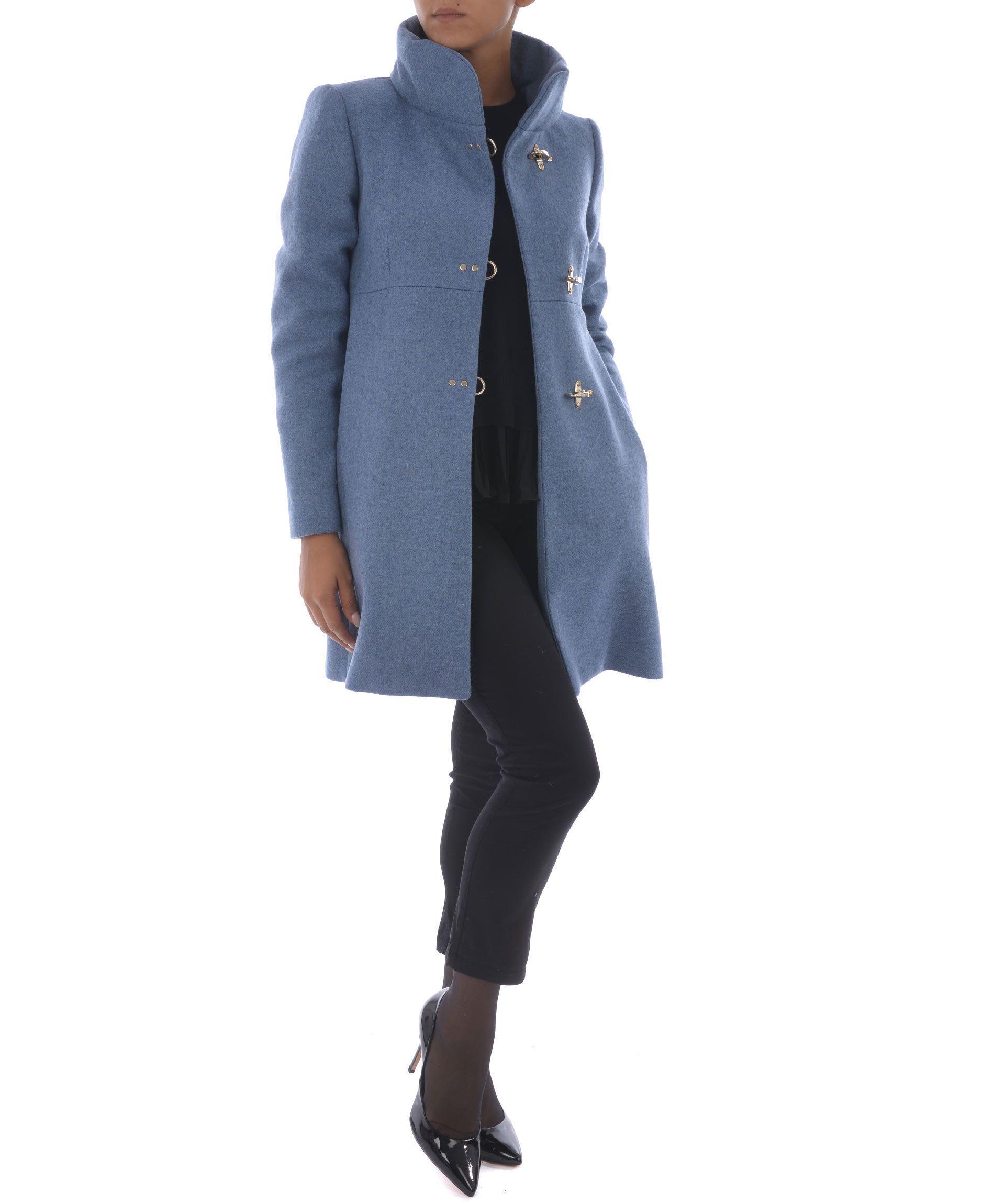 Fay Toggle Fastening Coat In Azzurro