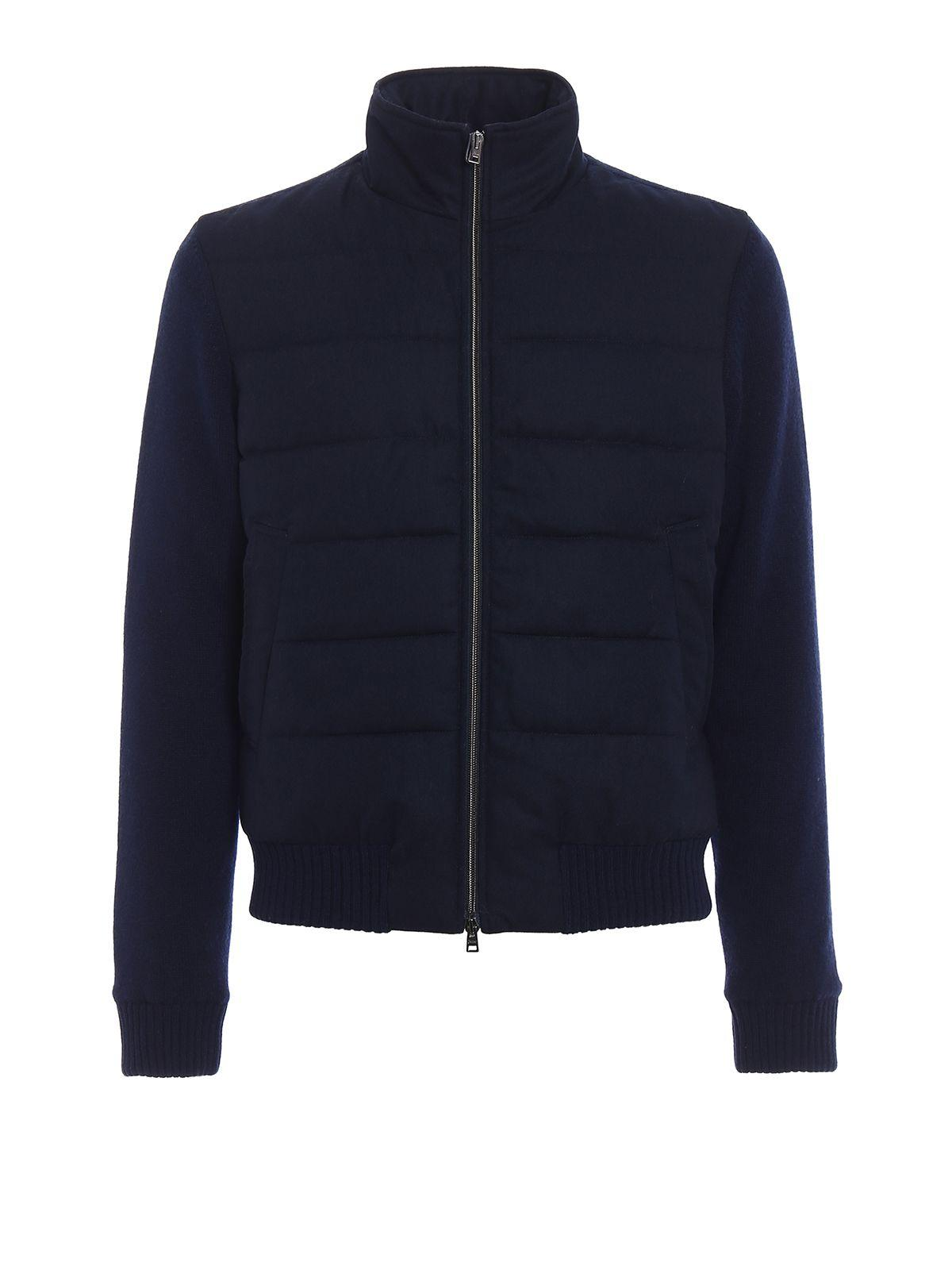 Herno Knitted Bomber Wool In Blue