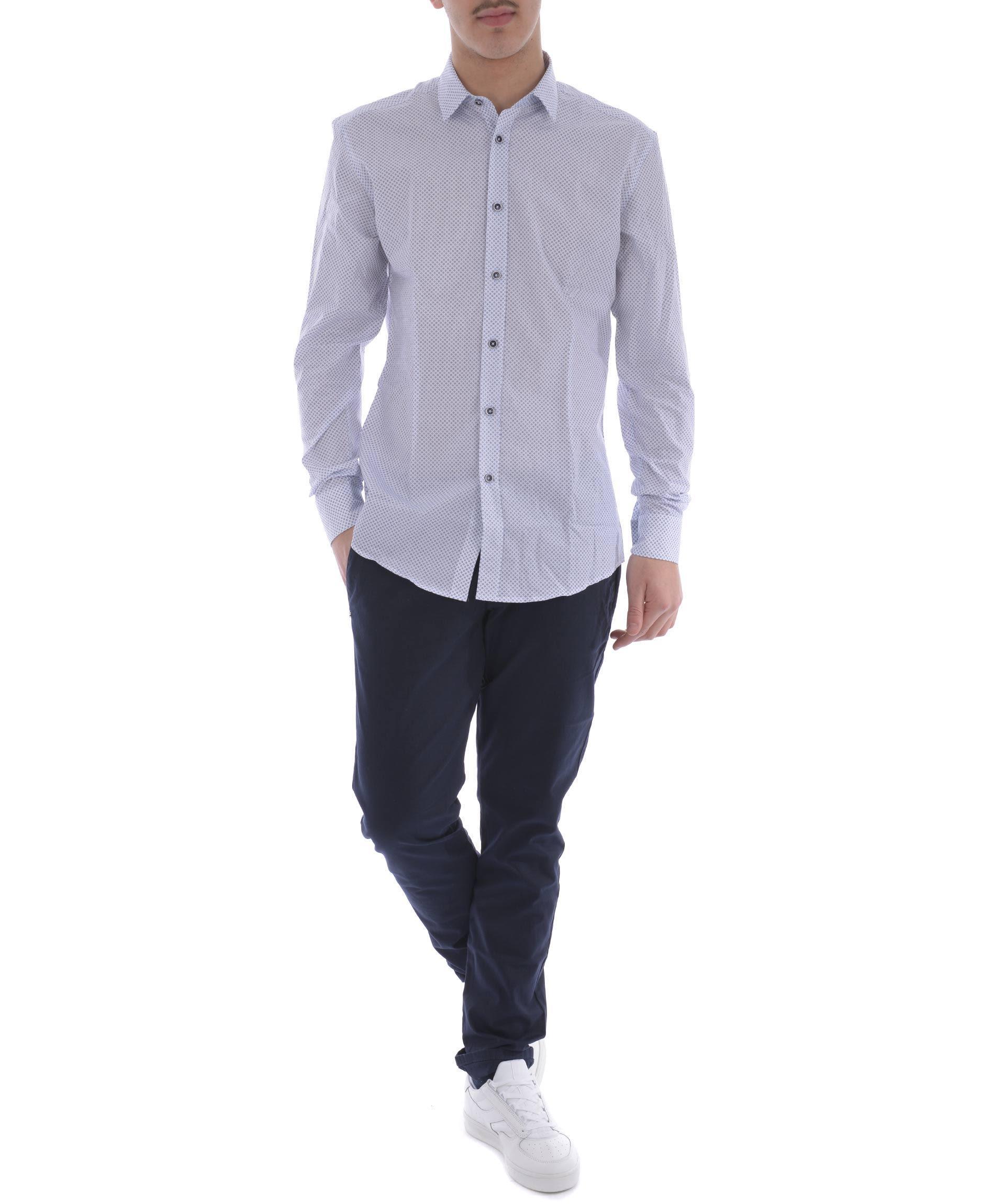 Daniele Alessandrini Printed Shirt In Bianco-blu