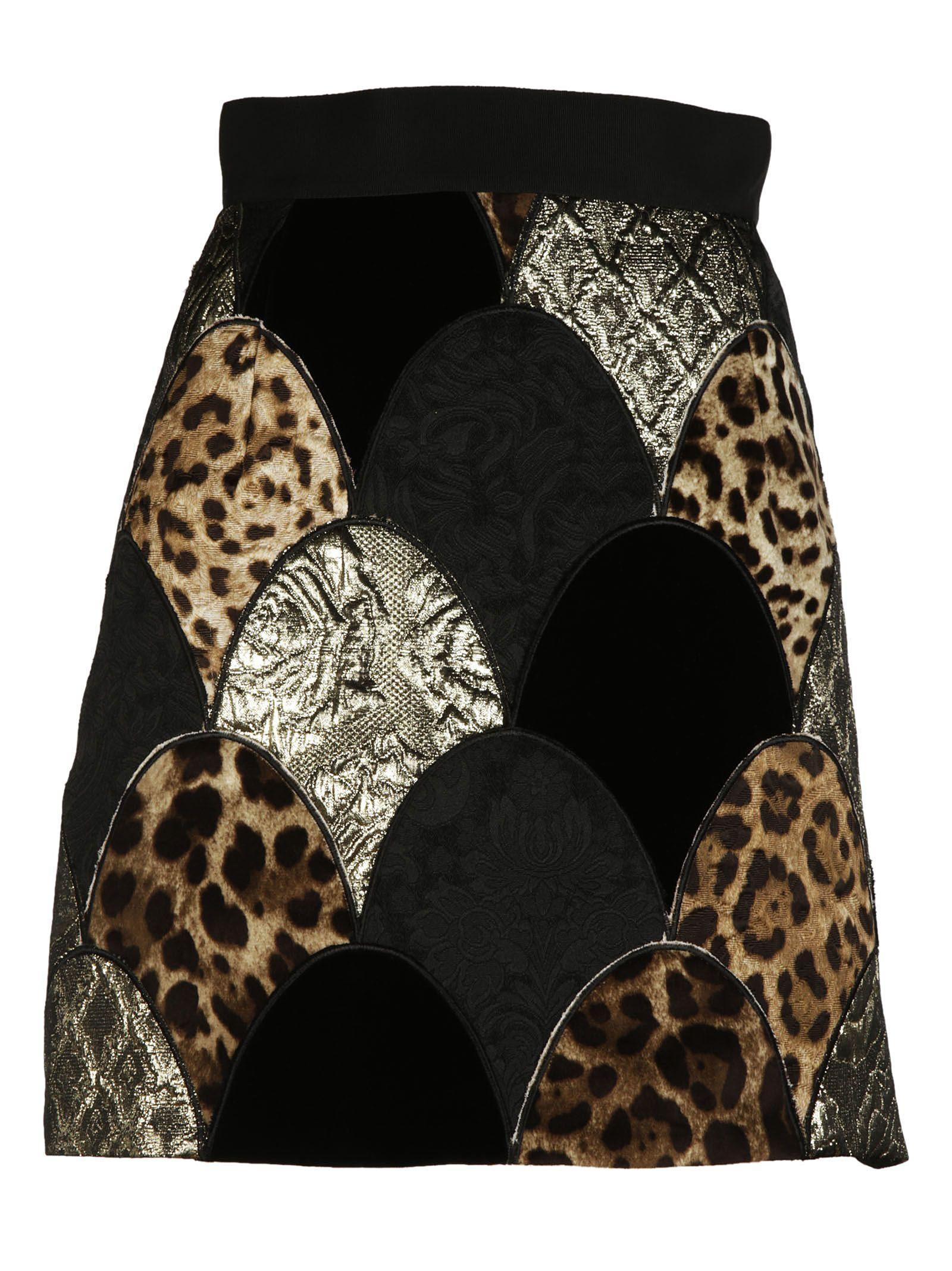 Dolce & Gabbana Jacquard Detail Skirt In Multicolor