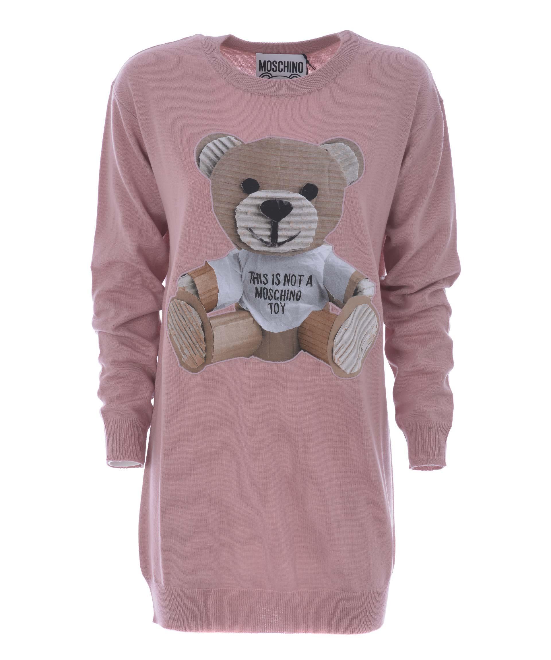 Moschino Bear Dress In Rosa Antico