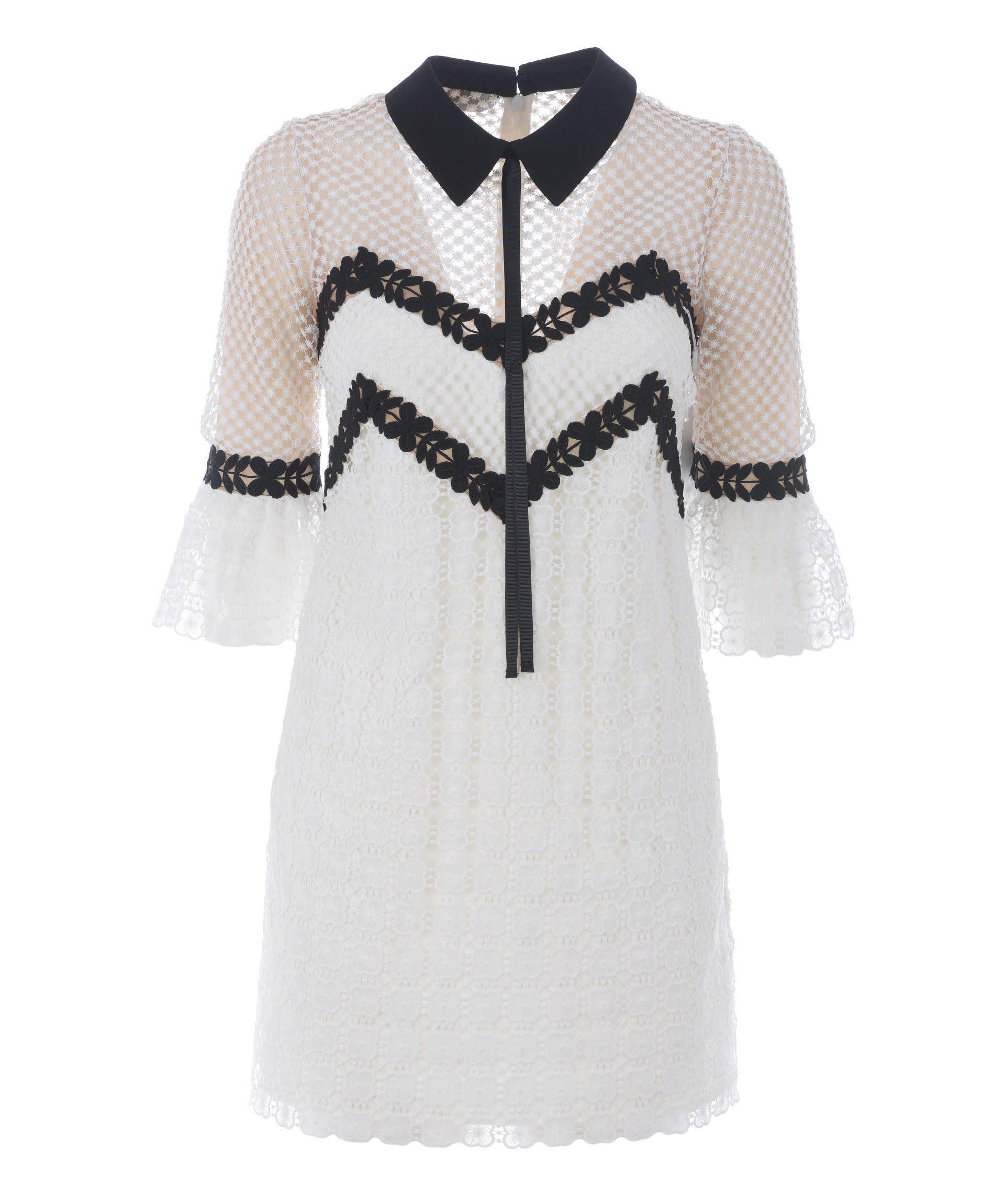 Self-portrait Petal Dress In Bianco/nero