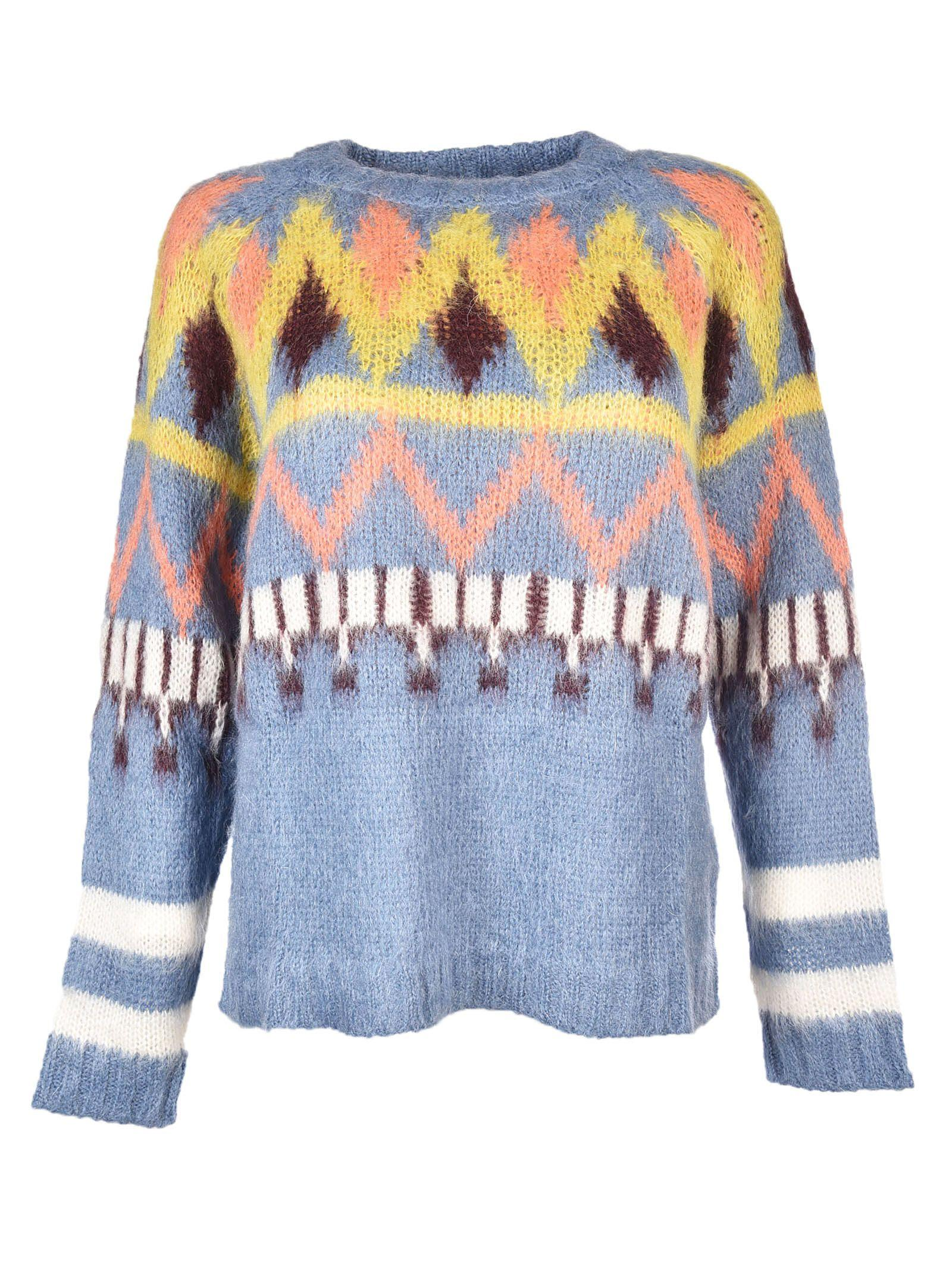 8pm Crewneck Knit Pullover In Blue-multicolor