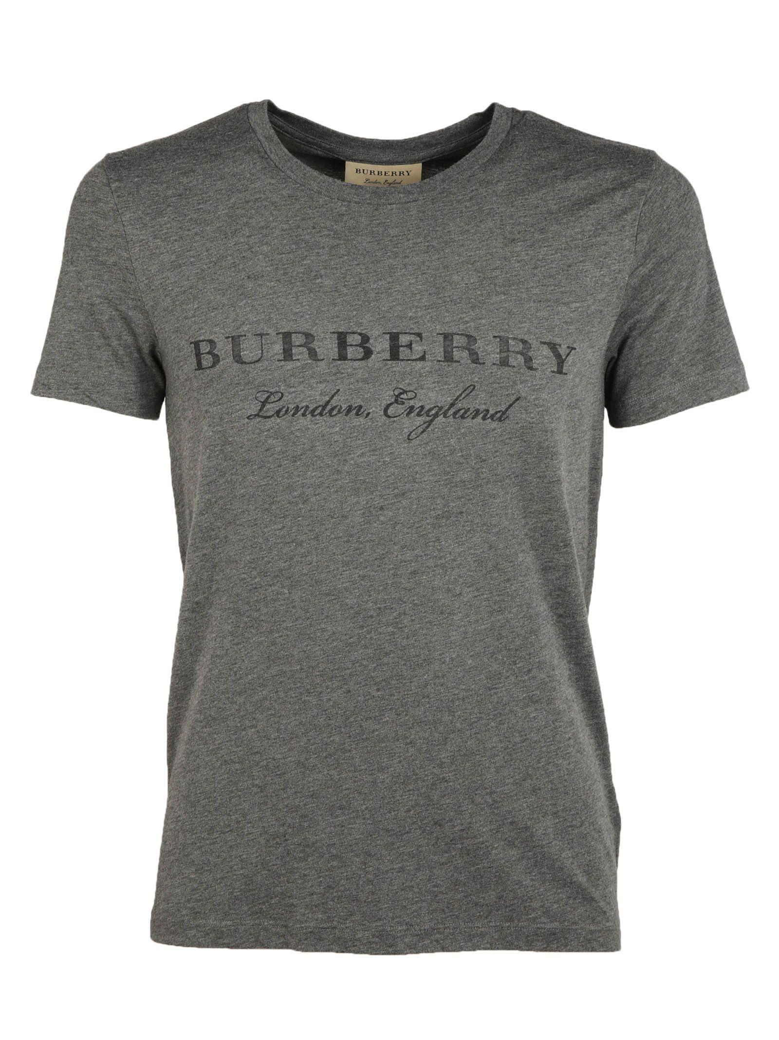 Burberry Logo Print T-shirt In Mid Grey Melange