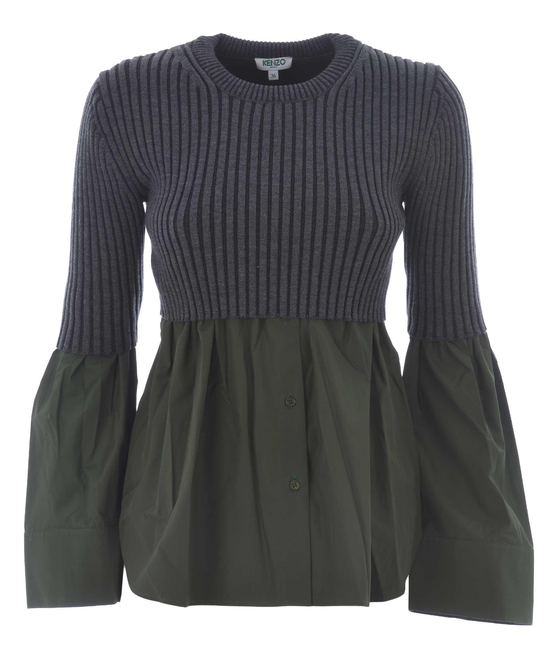 Kenzo Hybrid Sweater In Grigio Scuro-verde Scuro