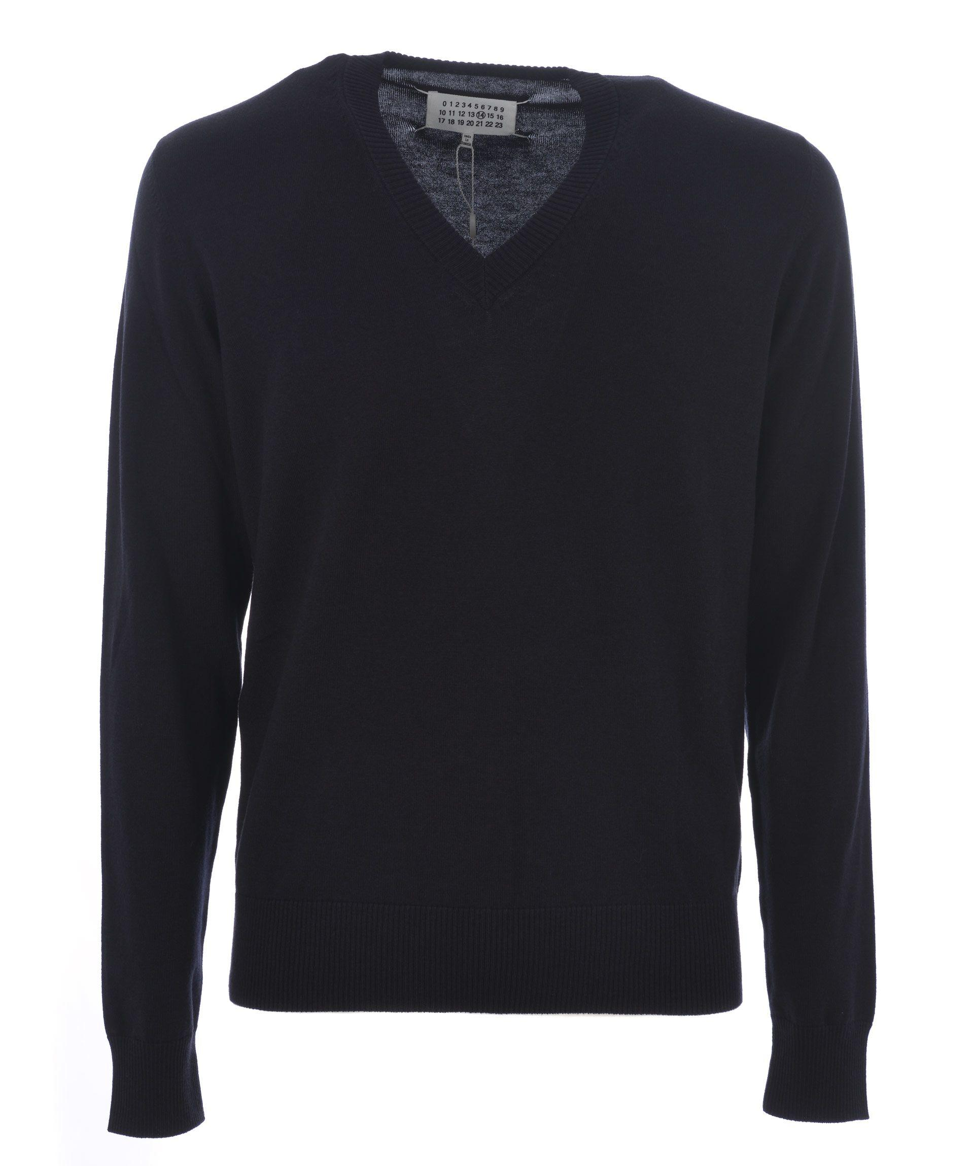 Maison Margiela V-Neck Sweater In Blu Scuro