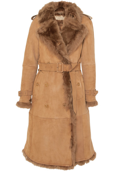 Burberry Tolladine Shearling-trim Suede Trench Coat In Camel