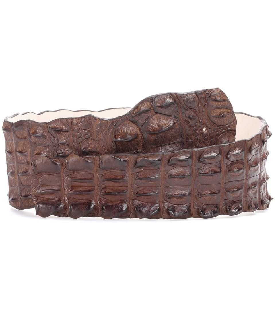 Balmain Crocodile Leather Belt In Lrowe