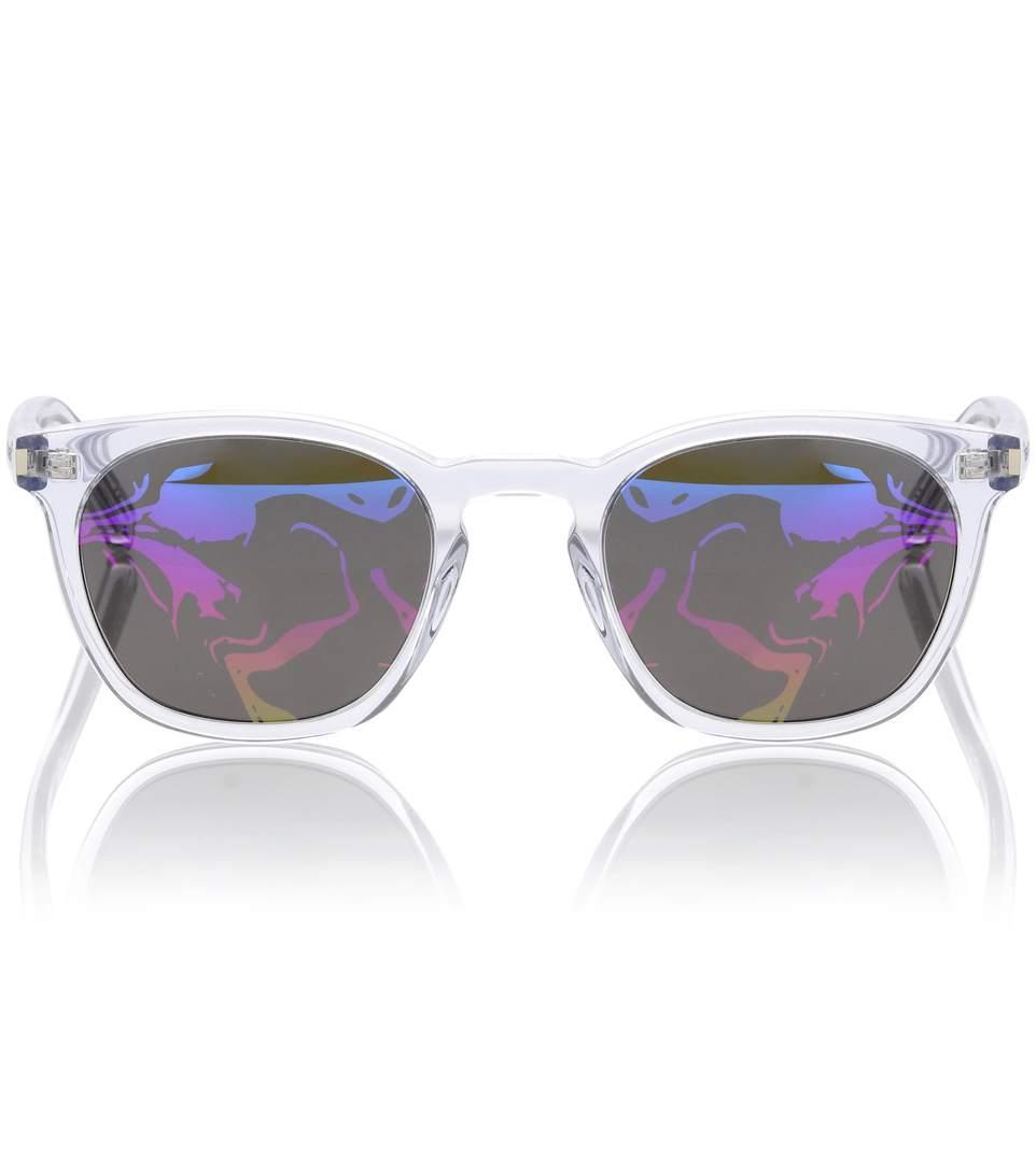 Saint Laurent Classic 28 Sunglasses In Transparent White In Multicoloured