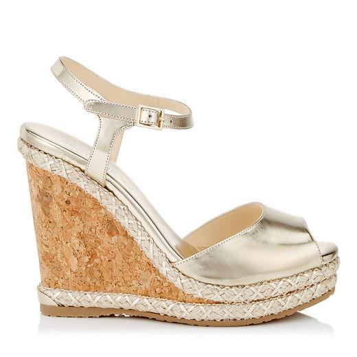 Jimmy Choo Perla 120 Light Platinum Mirror Leather Cork Wedge Sandals With Braid Trim
