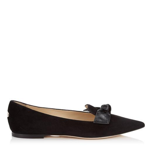 Jimmy Choo Gabie Flat Black Suede And Kid Leather Pointy Toe Flats In Black/black