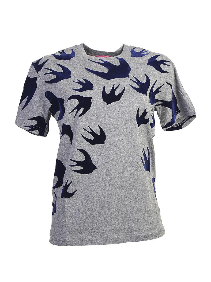 Mcq By Alexander Mcqueen Swallow Printed Cotton T-shirt In Grey