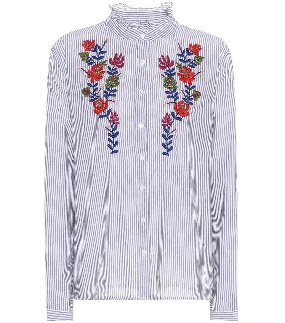 Velvet Kaidy Embroidered Cotton Shirt In Multicoloured