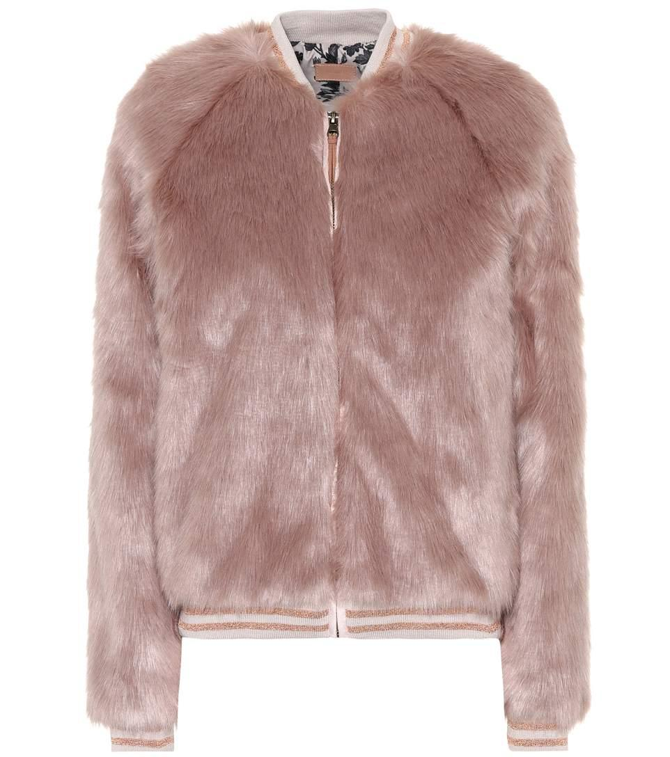 Mother The Letterman Faux Fur Jacket In Pink