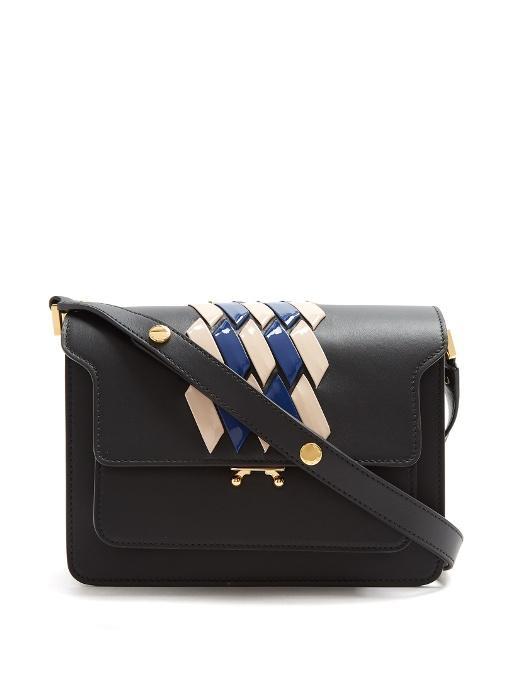 Marni Trunk Medium Striped-leather Shoulder Bag In Black Multi