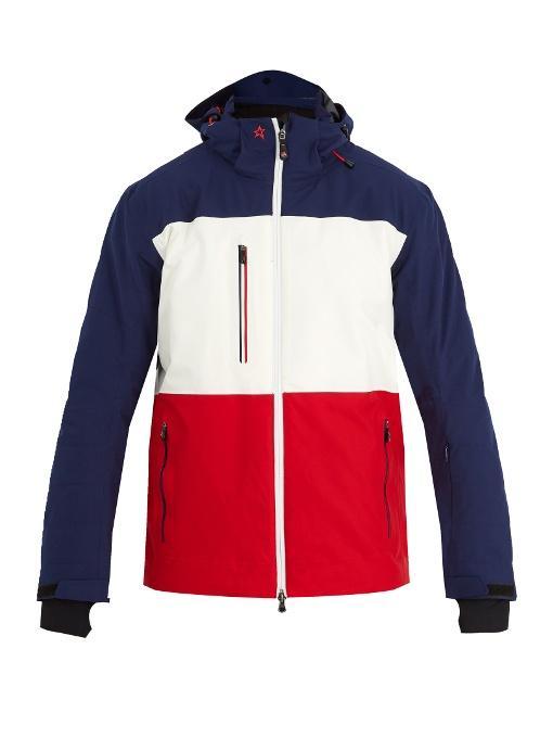 Perfect Moment Chamonix Contrast-panel Padded Ski Jacket In White Multi