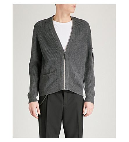 The Kooples Zip-up Wool-blend Cardigan In Gryd1