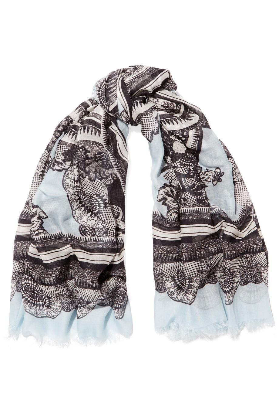 Roberto Cavalli Fringed Jacquard Modal And Cashmere-blend Scarf