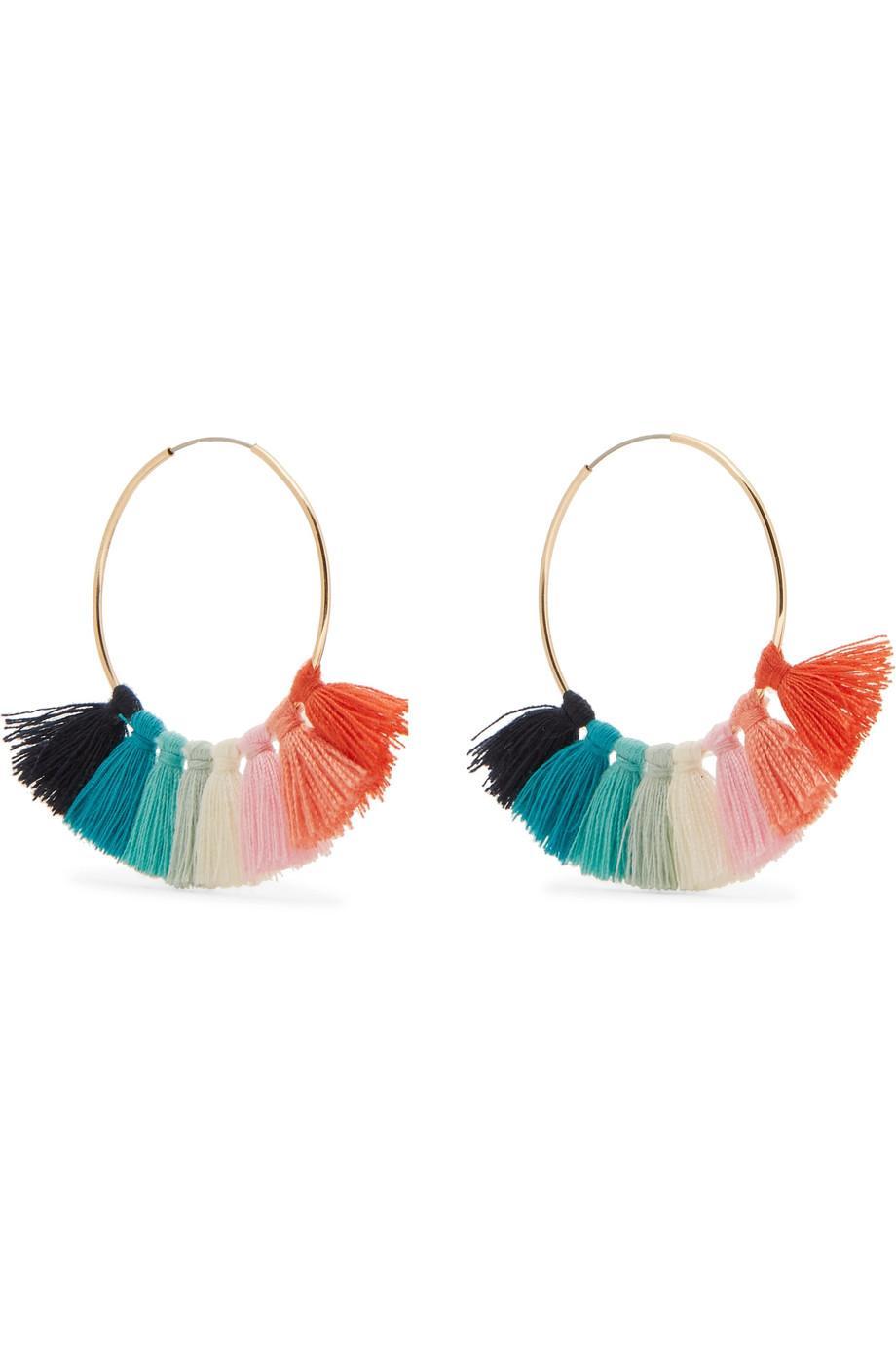 Kenneth Jay Lane Gold-tone Tasseled Hoop Earrings