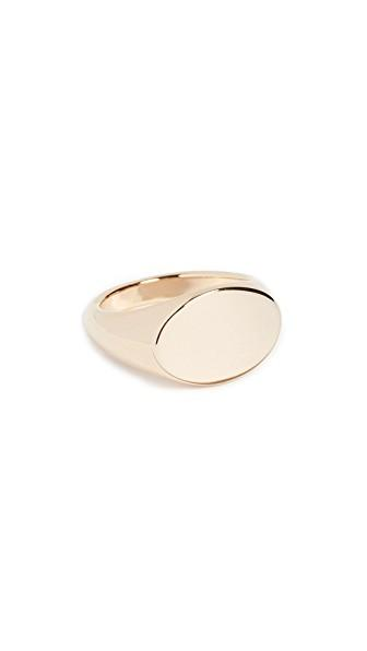 Cloverpost Flat Signet Ring In Yellow Gold