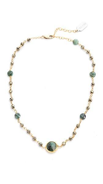 Ela Rae Libi Two Satellite Choker Necklace In Pyrite/emerald/emerald