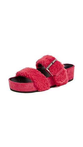 e3285322b86b Rag   Bone Evin Shearling Platform Slide Sandals In Berry