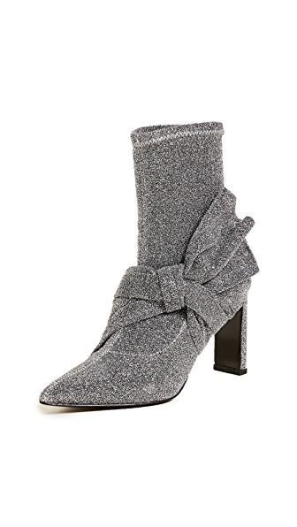 Sigerson Morrison Helin Bow Ankle Booties In Silver