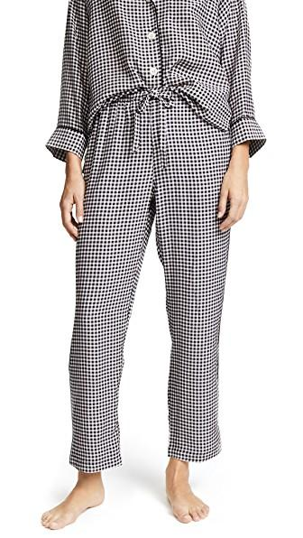 Sleepy Jones Silk Marina Gingham Pajama Pants In Black & White