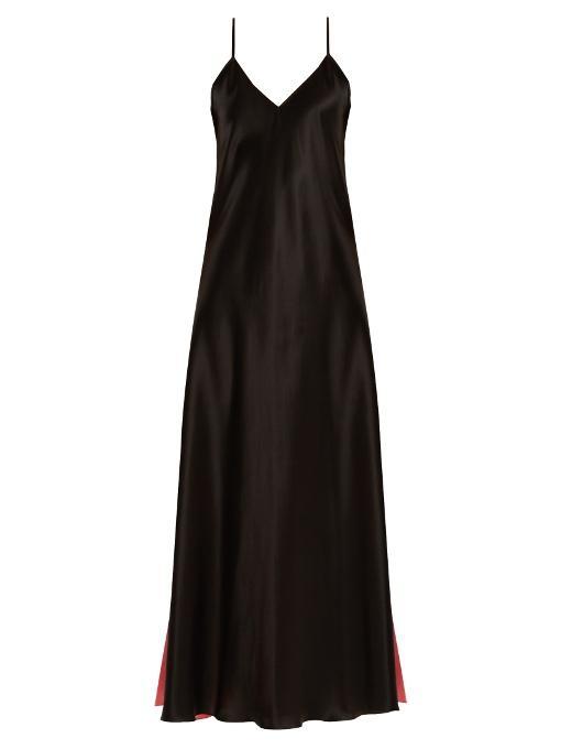 Racil Geiko Silk Maxi Dress In Black Pink