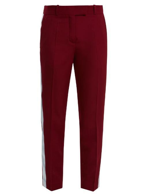 Racil Aries Side-stripe Skinny Wool Cropped Trousers In Burgundy