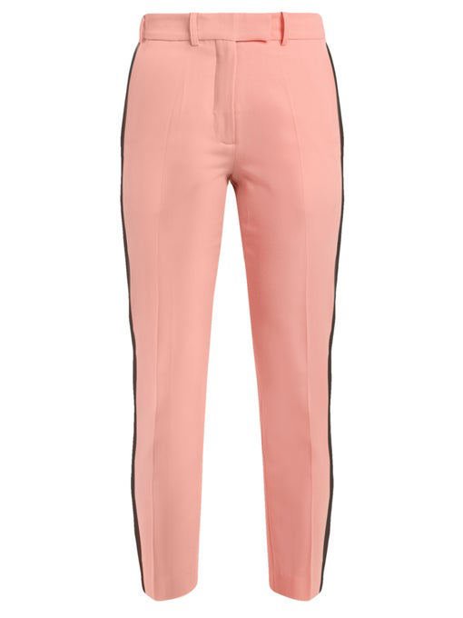 Racil Aries Side-stripe Skinny Wool Cropped Trousers In Pink