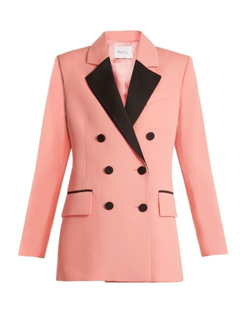 Racil Paris Double-breasted Contrast-lapel Wool Blazer In Blossom-pink