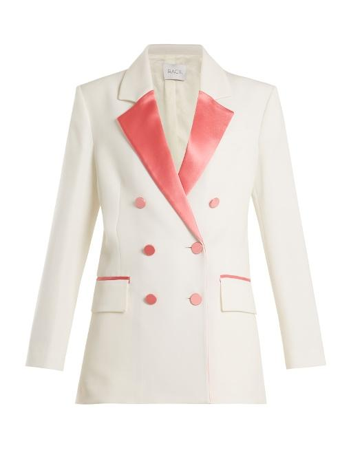 Racil Paris Double-breasted Contrast-lapel Wool Blazer In Pink White