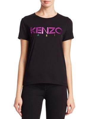 ff7363f73e2 Kenzo Black Limited Edition Holiday Logo T-Shirt In Foil Black ...
