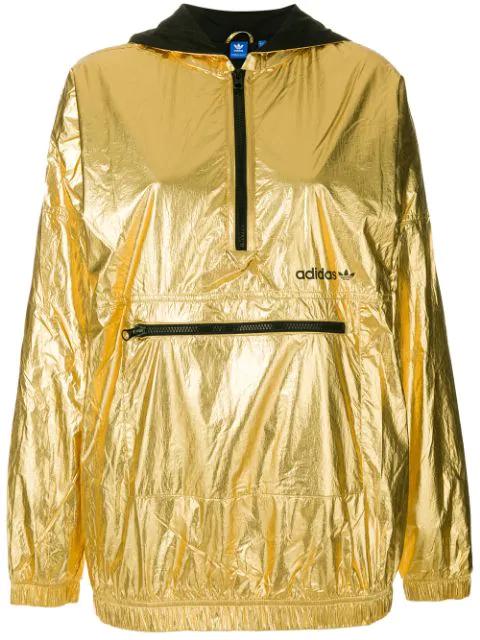 shop wholesale dealer online retailer Half Zip Hooded Jacket In High Shine Gold - Gold