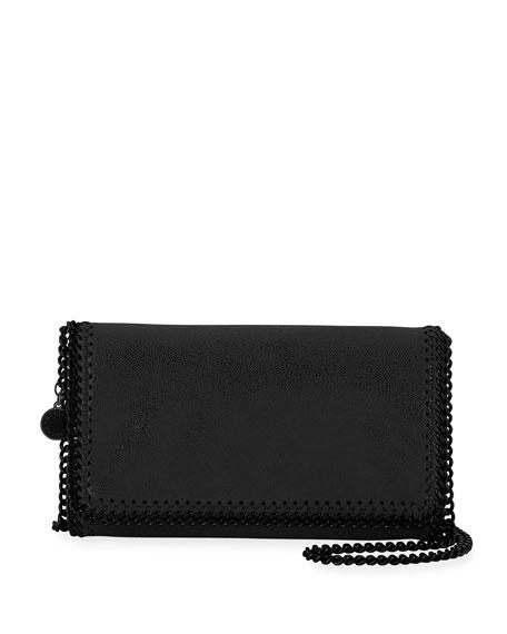 Stella Mccartney Falabella Shaggy Deer Faux Leather Clutch - Black In Black Out