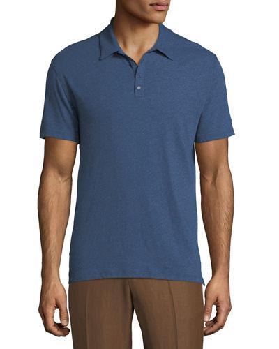 Vince Raw Edge Short Sleeve Polo Shirt In Optic White