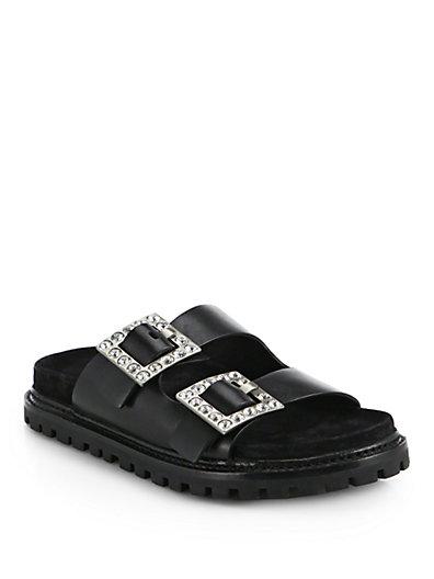 Michael Kors Alda Runway Crystal-Embellished Leather Buckle Sandals In Black