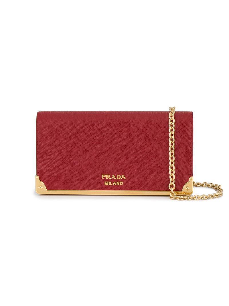 b33e10d002dc Prada Red Logo Wallet On Chain Leather Bag